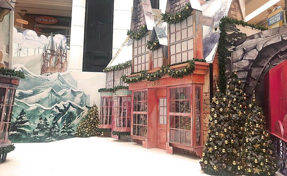 Harry Potter inspira decoração natalina de shopping. Foto: Divulgação