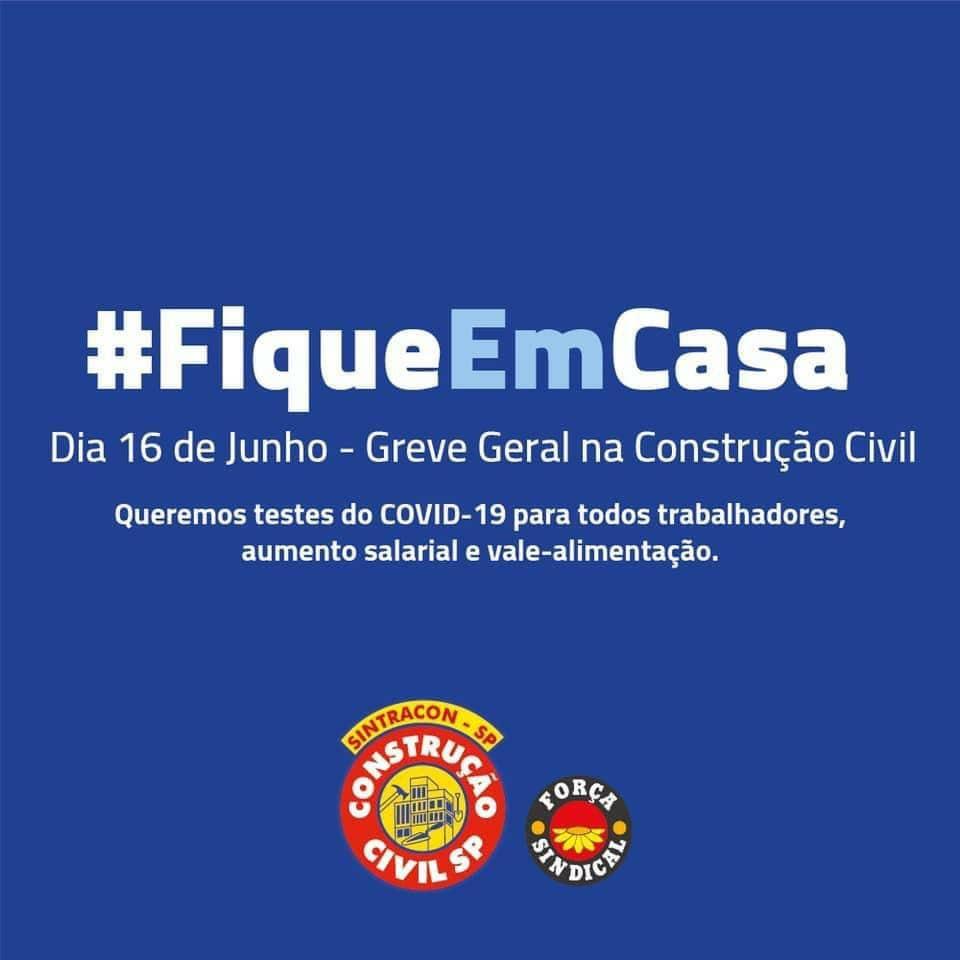 Convocação para greve geral dos trabalhadores da construção civil (Foto: Reprodução)