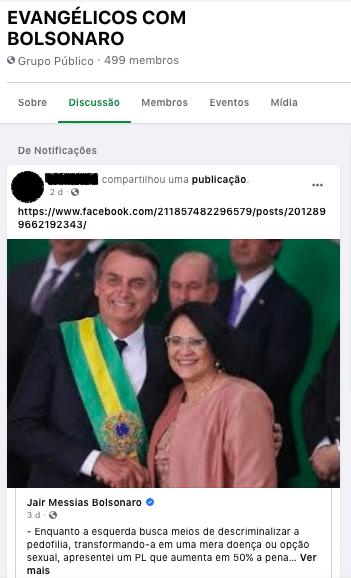 Fake news que associa pedofilia à esquerda circulou em grupos evangélicos (Foto: Reprodução/Facebook)