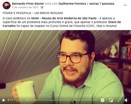 Youtuber olavista Bernardo Küster, repercutiu boato ainda em 2017 (Foto: Reprodução/ Facebook)