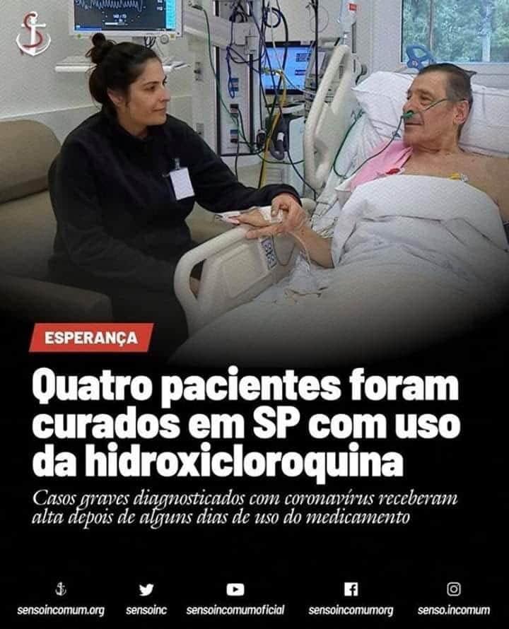 Três imagens que divulgavam falsamente o uso da cloroquina como tratamento para covid-19 ficaram entre as 100 mais compartilhadas no Whatsapp (Foto: Reprodução/ WhatsApp)