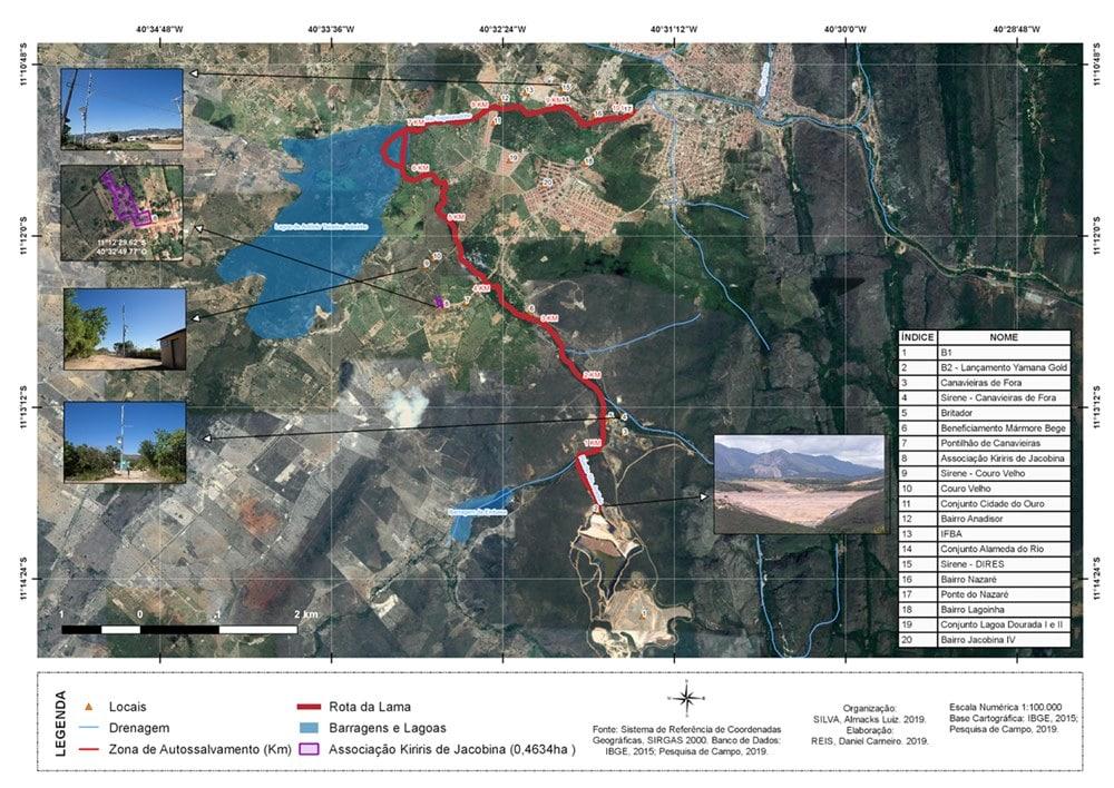 """Imagem de satélite com localização das comunidades rurais de Jacobina e outros áreas que estão na chamada """"rota da lama"""" da barragem 2"""